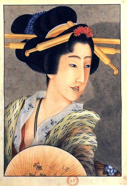 Katsushika Hokusai: Portrait of a woman holding a fan