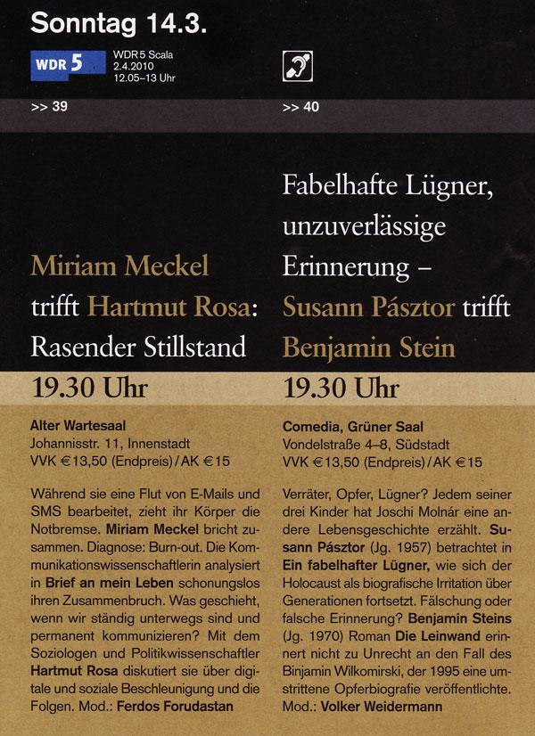Susann Pásztor und Benjamin Stein in einer Doppellesung