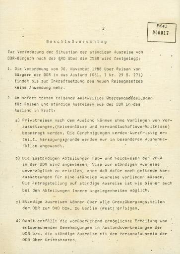 Die neue Ausreiseregelung vom 9. November 1989