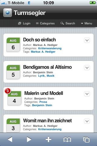 Turmsegler auf dem iPhone (Homepage)