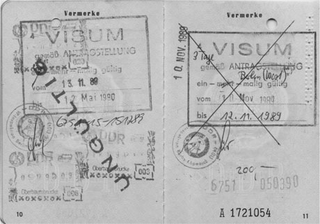 Mein erstes Visum im DDR-Ausweis vom 10.11.1989