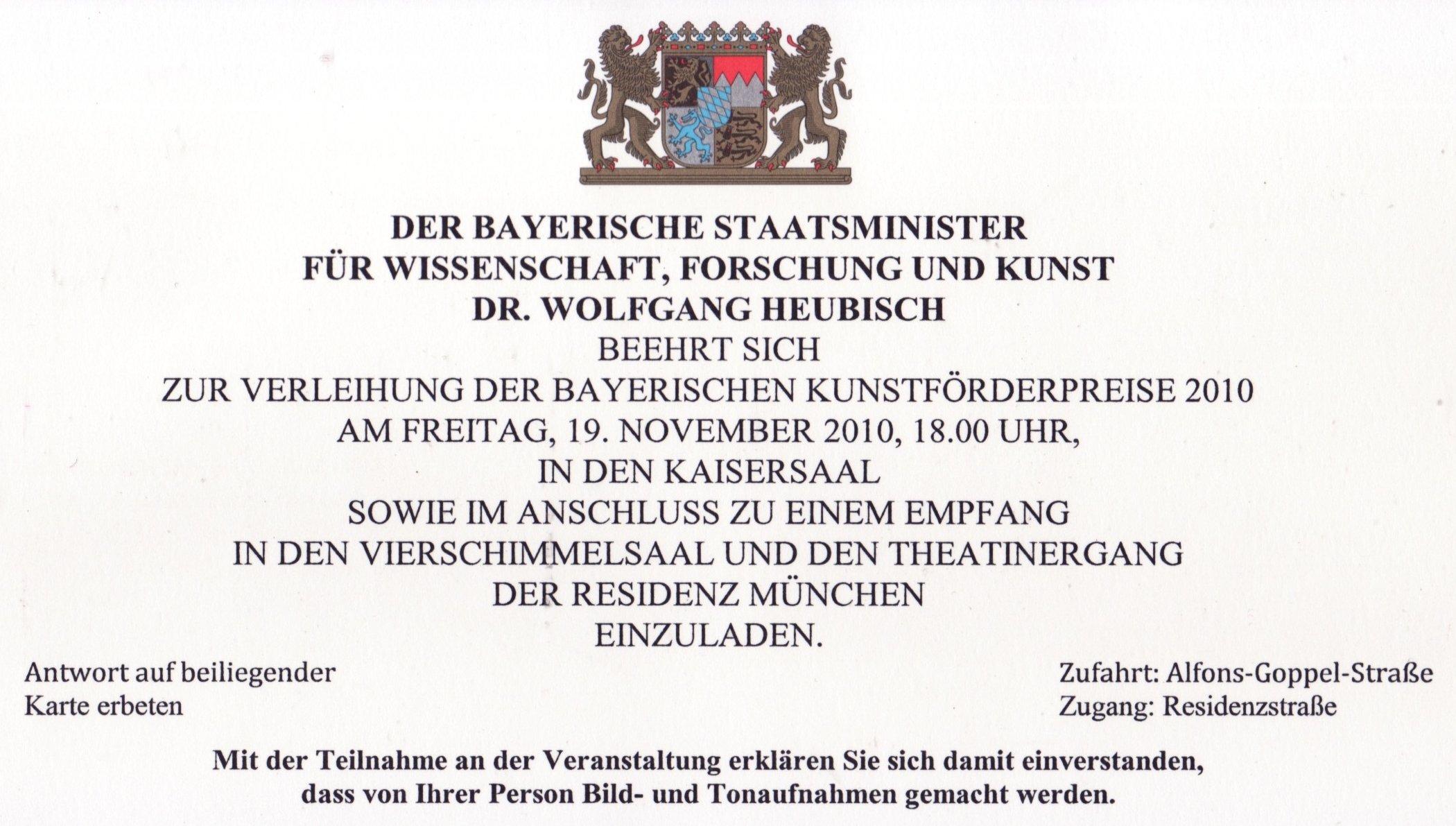 Einladung zum staatsempfang anlässlich der verleihung der bayrischen