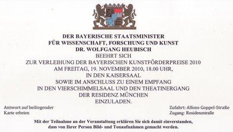 Einladung zum Staatsempfang anlässlich der Verleihung der Bayrischen Kunstförderpreise 2010