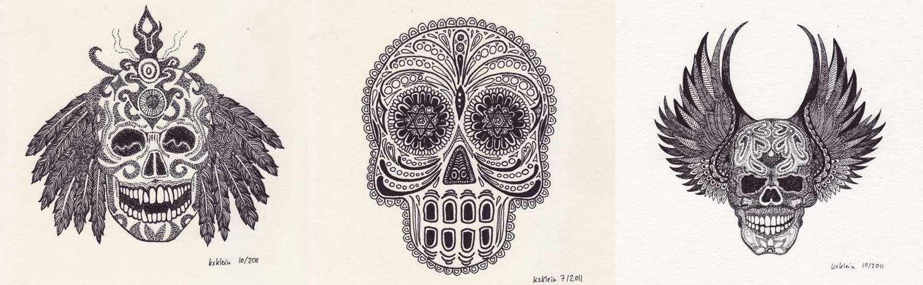 Skulls, Pigmenttusche auf Papier, © Kerstin Klein (2011)
