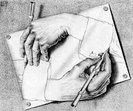 M. C. Escher: Zeichnende Hände, 1948