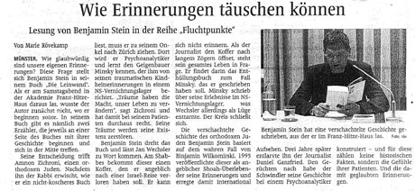 Bericht über die »Leinwand«-Lesung in der Akademie Franz-Hitze-Haus, Münster