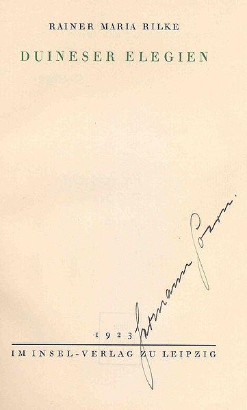 Titelblatt der Originalausgabe der Duineser Elegien